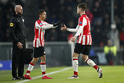(L-R) 4th official Rob Dieperink, Mauro Junior of PSV, Marco van Ginkel of PSV during the Dutch Eredivisie match between PSV Eindhoven and PEC Zwolle at the Phillips stadium on February 03, 2018 in Eindhoven, The Netherlands