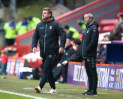 December 23, 2017 - London, United Kingdom - L-R Charlton Athletic manager Karl Robinson  and Assistant Manager Lee Bowyer.during Sky Bet  League One match between Charlton Athletic  against Blackpool at The Valley Stadium London on 23 Dec  2017  (Credit Image: © Kieran Galvin/NurPhoto via ZUMA Press)