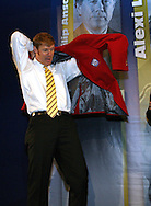 28 August 2006: 2006 inductee Alexi Lalas tries on his Hall of Fame jacket. The National Soccer Hall of Fame Induction Ceremony was held at the National Soccer Hall of Fame in Oneonta, New York.