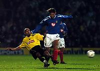Fotball<br /> Carling cup England 2004/05<br /> Watford v Portsmouth<br /> 30. november 2004<br /> Foto: Digitalsport<br /> NORWAY ONLY<br /> PATRIK BERGER PORTSMOUTH & JAMES CHAMBERS WATFORD