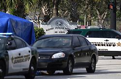 Broward Sheriff Deputy units are seen behing Marjory Stoneman Douglas High School in Parkland, Thursday, February 15, 2018. Photo by Joe Cavaretta/Sun Sentinel/TNS/ABACAPRESS.COM