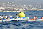 San Remo, ITALY,  Qualification Races, men's quadruple sculls M4X+, turning on the second bouy.  2008 FISA Coastal World Championships. Friday 17/10/2008. [Photo, Peter Spurrier/Intersport-images] Coastal Rowing Course: San Remo Beach, San Remo, ITALY