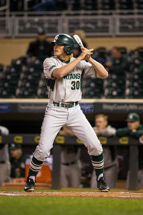 Cam Gibson (30) of the Michigan State Spartans bats during a 2015 Big Ten Conference Tournament game between the Maryland Terrapins and Michigan State Spartans at Target Field on May 20, 2015 in Minneapolis, Minnesota. (Brace Hemmelgarn)