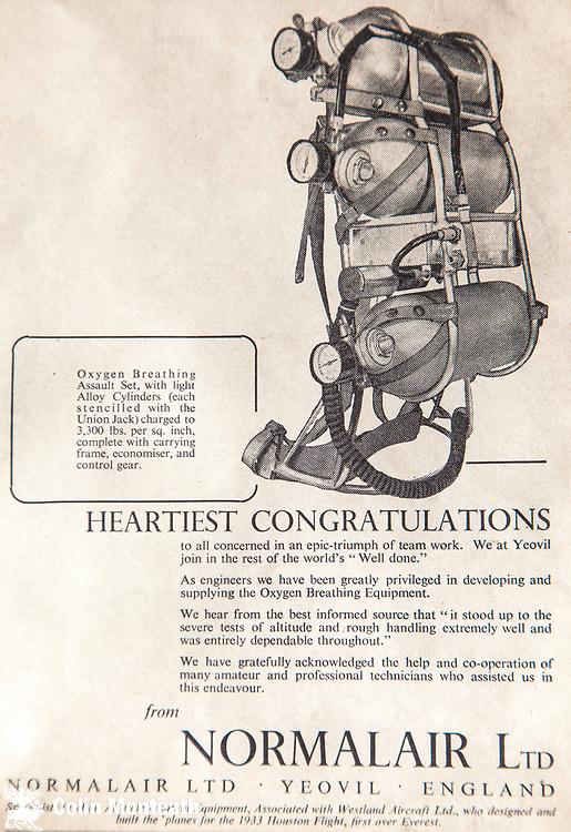 Mount Everest 1953 British first ascent advert - Normalair oxygen sets