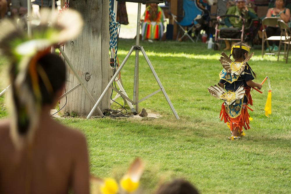 Girl dancing at the Tamkaliks Pow Wow in Wallowa, Oregon.