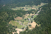 aerial view of Comptche in Mendocino County, Northern California