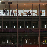 PARIS, FRANCE October 08.  Spectators watching from a cafe area above broadcast booths on Court Philippe-Chatrier during the French Open Tennis Tournament at Roland Garros on October 8th 2020 in Paris, France. (Photo by Tim Clayton/Corbis via Getty Images)