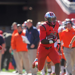Oct 13, 2012: Rutgers Scarlet Knights defensive back Duron Harmon (32) returns a blocked field goal for a touchdown during NCAA Big East college football action between the Rutgers Scarlet Knights and Syracuse Orange at High Point Solutions Stadium in Piscataway, N.J.