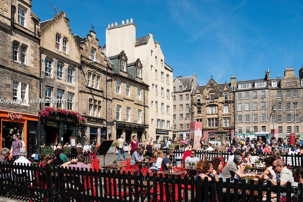 Many bars and restaurants in Grassmarket district of Edinburgh , Scotland, United Kingdom