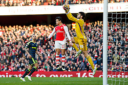 Alexis Sanchez of Arsenal is beaten by Tomas Mejias of Middlesbrough - Photo mandatory by-line: Rogan Thomson/JMP - 07966 386802 - 15/02/2015 - SPORT - FOOTBALL - London, England - Emirates Stadium - Arsenal v Middlesbrough - FA Cup Fifth Round Proper.