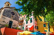 Capella dei Flagellati chapel and the Monument to the Fallen, Corniglia, Cinque Terre, Liguria, Italy