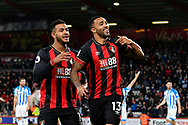 Goal - Callum Wilson (13) of AFC Bournemouth celebrates scoring a goal to give a 1-0 lead to the home team with Joshua King (17) of AFC Bournemouth during the Premier League match between Bournemouth and Huddersfield Town at the Vitality Stadium, Bournemouth, England on 4 December 2018.