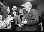 """""""These Obstreperous Lassies"""" Book Launch.  (R93)..1988..15.12.1988..12.15.1988..15th December 1988..A book which chronicles an important aspect of Irish social history was launched in Larkin Hall. """"These Obstreperous Lassies"""" written and researched by Mary Jones, details the seventy three years of the Irish Women Workers Union and of the women who were involved in the union..With Countess Markievicz as its first president, The Union began the fight for equal pay and fair treatment under the leadership of women like helen Chenevix, Louise Bennett and Helena Molloy. They fought for the rights of vulnerable workers such as Laundresses,print workers,box makers,nurses and dressmakers..The Author, Mary Jones, is a full time researcher specialising in Women and Work...Picture shows the Author Mary Jones (L) chatting with Michael Gill, Managing Director, Gill and McMillan (The Publishers), Marie Heaney and Seamus Heany at the launch of the book."""