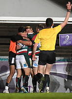 Rugby Union - 2020 / 2021 European Rugby Challenge Cup - Semi-final - Leicester vs Ulster - Welford Road<br /> <br /> Leicester Tigers' Guy Porter celebrates scoring his sides third try.<br /> <br /> COLORSPORT/ASHLEY WESTERN