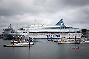 Cruise ship in Falmouth harbour housing police officers attending the G7 summit on the 11th of June 2021 in Falmouth in Cornwall, United Kingdom. The MS Silja Europa owned by the Tallink group has had a number of COVID-19 cases break out on board. Over 5000 police officers from forces across the UK are in Cornwall this weekend for the G7 world leaders summit.