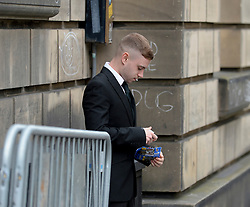 Pictured: Thomas Haining arriving at Court.<br /> <br /> The trial of Thomas Haining (20) from Grantown on Spey, who is accused of murdering his three-week-old daughter Mikayla Haining by striking her on the head and body at her home in Inverness, has ben adjourned at the High Court in Edinburgh.<br /> <br /> © Dave Johnston / EEm