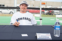 KELOWNA, CANADA - JUNE 28: NHL Montreal Canadiens player Brendan Gallagher sits at an autograph table during the opening charity game of the Home Base Slo-Pitch Tournament fundraiser for the Kelowna General Hospital Foundation JoeAnna's House on June 28, 2019 at Elk's Stadium in Kelowna, British Columbia, Canada.  (Photo by Marissa Baecker/Shoot the Breeze)