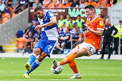Liam Sercombe of Bristol Rovers shoots at goal past Jordan Thompson of Blackpool - Mandatory by-line: Robbie Stephenson/JMP - 03/08/2019 - FOOTBALL - Bloomfield Road - Blackpool, England - Blackpool v Bristol Rovers - Sky Bet League One