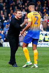 Mansfield Town manager David Flitcroft and Rhys Bennett of Mansfield Town celebrate their win over Chesterfield - Mandatory by-line: Ryan Crockett/JMP - 14/04/2018 - FOOTBALL - Proact Stadium - Chesterfield, England - Chesterfield v Mansfield Town - Sky Bet League Two