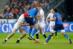 France Number 8 Loann Goujon is tackled by England Flanker James Haskell and Inside Centre Owen Farrell - Mandatory byline: Rogan Thomson/JMP - 19/03/2016 - RUGBY UNION - Stade de France - Paris, France - France v England - RBS 6 Nations 2016.