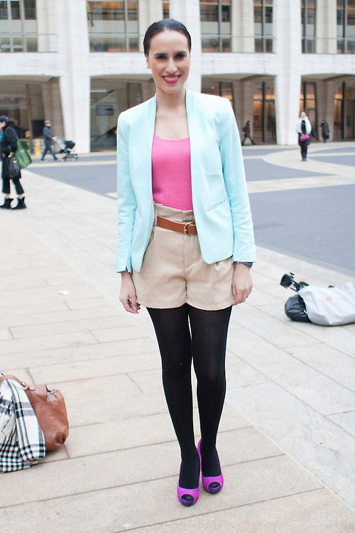 Mercedes Sanchez, editor of Be Chic Mag, wears head to toe H&M during day three at AW 2012 New York Fashion Week, NY, USA. February 11, 2012.