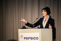 Pepsico President Debra Crew speaking  at Town Hall meeting at Pepsico headquarters in Chicago.
