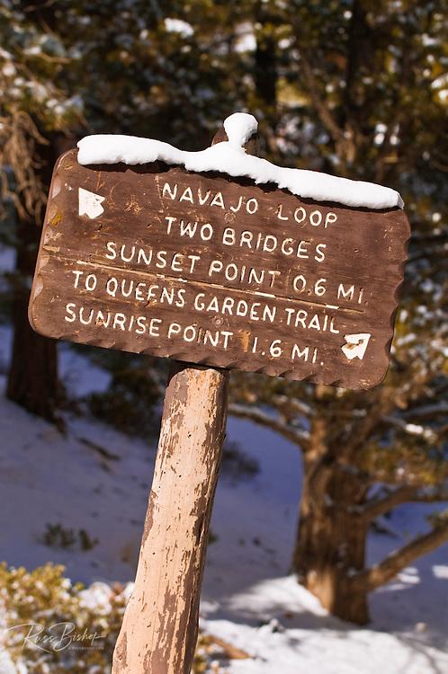 Trail sign along the Navajo Loop, Bryce Canyon National Park, Utah