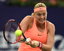 ZHUHAI, Nov. 5, 2016  Petra Kvitova of the Czech Republic returns a hit during the women's singles semifinal against Zhang Shuai of China at the WTA Elite Trophy tournament in Zhuhai, south China's Guangdong Province,on Nov. 5, 2016. Kvitova won 2-0. (Credit Image: © Lu Hanxin/Xinhua via ZUMA Wire)