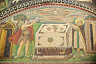Mosaic depicting Abel making sacrifice. Byzantine Roman mosaics of the Basilica of San Vitale in Ravenna, Italy. Mosaic decoration paid for by Emperor Justinian I in 547. A UNESCO World Heritage Site .<br /> <br /> Visit our BYZANTINE MOSAIC PHOTO COLLECTION for more   photos  to download or buy as prints https://funkystock.photoshelter.com/gallery/Byzantine-Eastern-Roman-Style-Mosaics-Pictures-Images/G0000NvKCna.AoH4/3/C0000YpKXiAHnG2k<br /> If you prefer to buy from our ALAMY PHOTO LIBRARY  Collection visit : https://www.alamy.com/portfolio/paul-williams-funkystock/basilica-san-vitale-ravenna.html