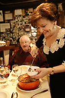 """for story by RW Apple....Pot au Feu in the Parisian bistro """"Chez la Vieille - 'Adrienne' """"....It is being served by Marie-Jose Cervoni, the owner and hostess....photo by Owen Franken ....February 5,  2004......"""