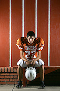 Mercedes, TX - 8/16/2007 - Running Back Alex Trevino of the Mercedes Tigers.  Photographed for The Monitor's annual football tab.