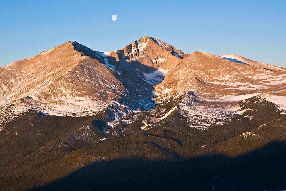 Moon over Longs Peak at sunrise, Rocky Mountain National Park, Colorado.