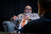 T.D. Jakes talks with Chancellor Harold L. Martin Sr. before the North Carolina Agricultural and Technical State University's spring Chancellor's Speaker Series on Thursday, April 11, 2019.<br /> <br /> (Chris English/Tigermoth Creative)