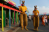 Giant size Kangaroo costumes being warn by Australian fans bouncing outside Twickenham Stadium before k/o. Rugby World Cup 2015 pool A match, England v Australia at Twickenham Stadium in London, England  on Saturday 3rd October 2015.<br /> pic by  John Patrick Fletcher, Andrew Orchard sports photography.