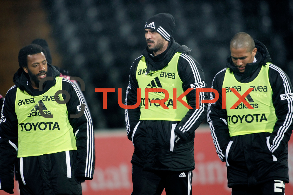 Besiktas's Manuel Fernandes (L) and Hugo Almedia (C), Eduardo Goncalves De Oliveira (R) during their Turkey Cup matchday 3 soccer match Besiktas between Gaziantepspor BSB at the Inonu stadium in Istanbul Turkey on Wednesday 11 January 2012. Photo by TURKPIX