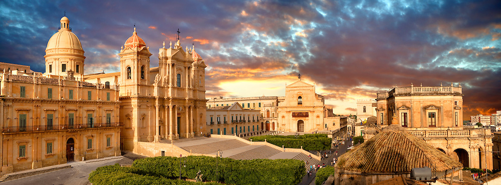 Noto Cathedral (Cattedrale di Noto; La Chiesa Madre di San Nicolò) is a Roman Catholic cathedral in Noto in Sicily, Italy. Its construction, in the style of the Sicilian Baroque, began in the early 18th century and was completed in 1776. A UNEASO Wrold Heritage Site Noto Cathedral (Cattedrale di Noto; La Chiesa Madre di San Nicolò) is a Roman Catholic cathedral in Noto in Sicily, Italy. Its construction, in the style of the Sicilian Baroque, began in the early 18th century and was completed in 1776. A UNEASO Wrold Heritage Site.<br /> <br /> USEFUL LINKS:<br /> Wikipedia https://en.wikipedia.org/wiki/Noto_Cathedral<br /> Wikipedia https://en.wikipedia.org/wiki/Noto .<br /> <br /> Visit our SICILY HISTORIC PLACES PHOTO COLLECTIONS for more   photos  to download or buy as prints https://funkystock.photoshelter.com/gallery-collection/2b-Pictures-Images-of-Sicily-Photos-of-Sicilian-Historic-Landmark-Sites/C0000qAkj8TXCzro<br /> .<br /> <br /> Visit our EARLY MODERN ERA HISTORICAL PLACES PHOTO COLLECTIONS for more photos to buy as wall art prints https://funkystock.photoshelter.com/gallery-collection/Modern-Era-Historic-Places-Art-Artefact-Antiquities-Picture-Images-of/C00002pOjgcLacqI