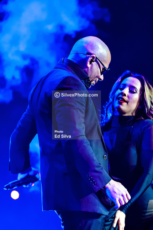 """LOS ANGELES, CA - OCT 11  American rapper and Latin Grammy winning artist Pitbull (Armando Christian Pérez) had the sold-out audience dancing from the floor to the rafters for the """"Sex and Love"""" tour with Enrique Iglesias in Los Angeles, USA. 2014 Oct 11. Byline, credit, TV usage, web usage or linkback must read SILVEXPHOTO.COM. Failure to byline correctly will incur double the agreed fee. Tel: +1 714 504 6870."""