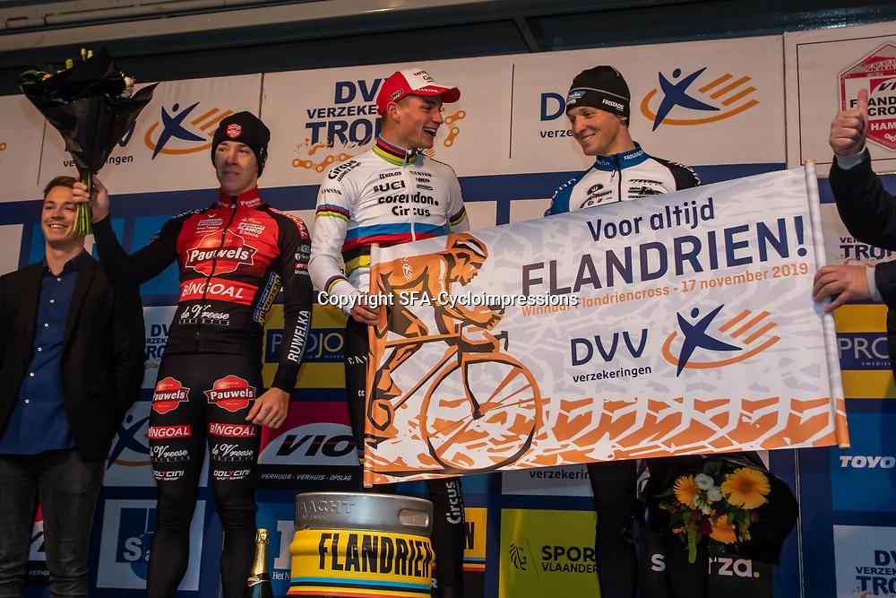 2019-11-17 Cycling: dvv verzekeringen trofee: Flandriencross: Mathieu van der Poel wins in Hamme,  Laurens Sweek ends second and Tim Merlier third