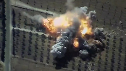 June 23, 2017 - Russia - June 23, 2017. - Russia. Frigates Admiral Essen and Admiral Grigorovich and Krasnodar submarine have destroyed by Kalibr cruise missiles large depots of armaments and ammunition of the Islamic State terrorists in Syria. Photo: Russian Defense Ministry's press service. (Credit Image: © Russian Look via ZUMA Wire)