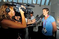 LONDON OLYMPIC GAMES 2012 - CLUB FRANCE , LONDON (ENG) - 25/07/2012 - PHOTO : POOL / KMSP / DPPI<br /> PRESS CONFERENCE - WOMEN HANDBALL TEAM - RAPAHELLE TERVEL (FRA)