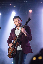 Caleb Followil, lead singer of Kings of Leon,  on stage at the SSE Hydro, Glasgow.