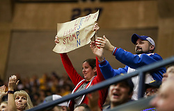 Jan 15, 2018; Morgantown, WV, USA; A Kansas Jayhawks fan holds up a sign during the second half against the West Virginia Mountaineers at WVU Coliseum. Mandatory Credit: Ben Queen-USA TODAY Sports