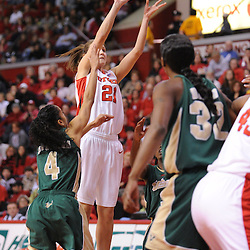 Jan 31, 2009; Piscataway, NJ, USA; Rutgers forward Heather Zurich (21) takes a shot during the first half of South Florida's 59-56 victory over Rutgers in NCAA women's college basketball at the Louis Brown Athletic Center