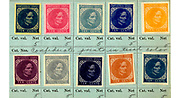 """Postage stamp proofs depict Jefferson Davis printed in 11 different colors.<br /> These proofs were """"privately printed in various colors."""" Cf. Scott.<br /> Scott 2002 standard postage stamp catalogue, v. 1, p. 141"""