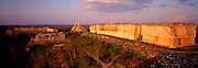 MEXICO, MAYAN CULTURE, YUCATAN Uxmal, Governor's Palace and Pyramid