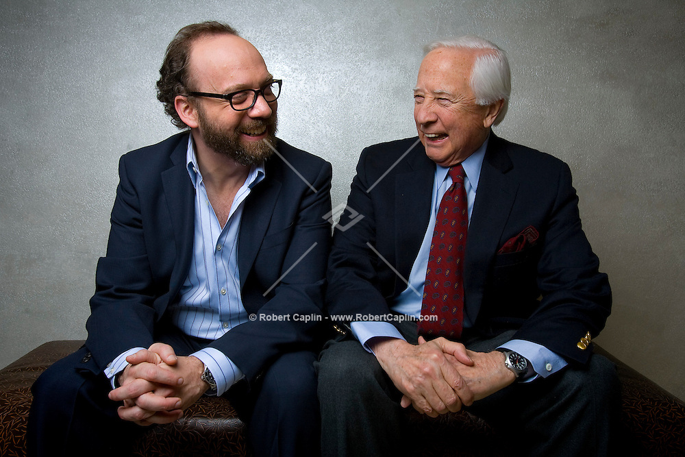 """Actor Paul Giamatti and author David McCullough pose for a portrait in the HBO building in New York. The pair worked together on the HBO mini-series """"John Adams""""."""