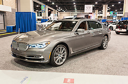 CHARLOTTE, NC, USA - November 11, 2015: BMW 750i on display during the 2015 Charlotte International Auto Show at the Charlotte Convention Center in downtown Charlotte.