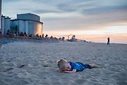 Ostend, Belgium, 13 oct 2018, Little boy at the beach