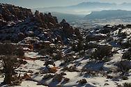 Fiery Furnace area, La Sal Mountains, Arches National Park, Utah, winter