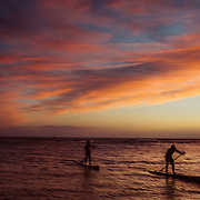 Stand-up paddle boarders at sunset near the shore of Honolulu in Hawaii.